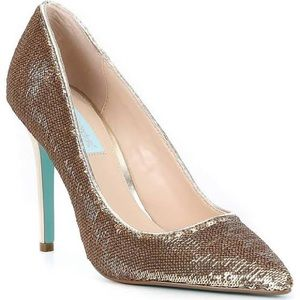 Gold Sequin Betsey Johnson Heels